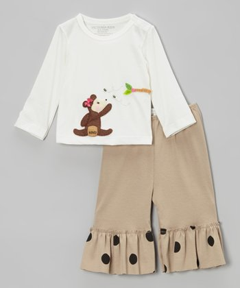 White Ballerina Mouse Tee & Blue Ruffle Pants - Infant & Toddler