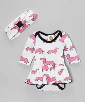 Pink & White Got Dog? Organic Skirted Bodysuit & Beanie - Infant