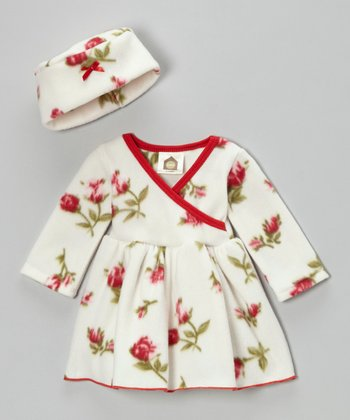 Red & White Rosy Baby Fleece Dress & Beanie - Infant & Toddler