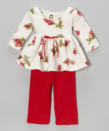 Red & White Rosy Baby Fleece Tunic & Pants - Infant & Toddler