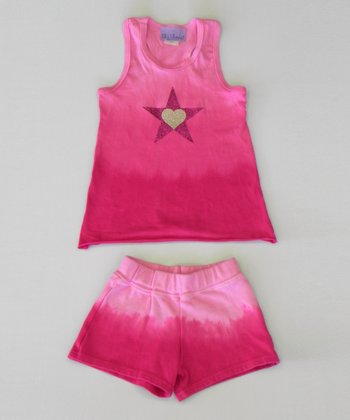 Raspberry Heart Ombre Tank & Shorts - Toddler & Girls