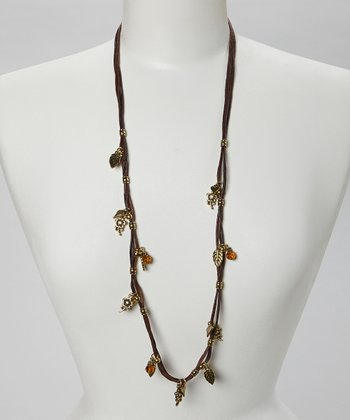 Bronze Leaf Charm Cord Necklace