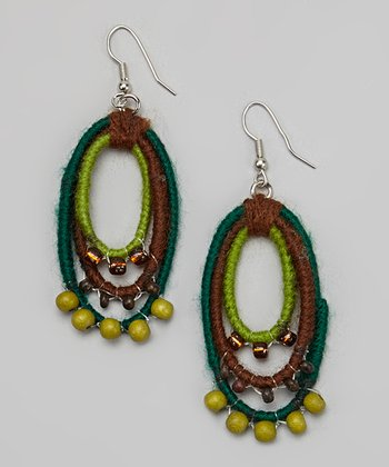 Green & Blue Bead Loop Earrings