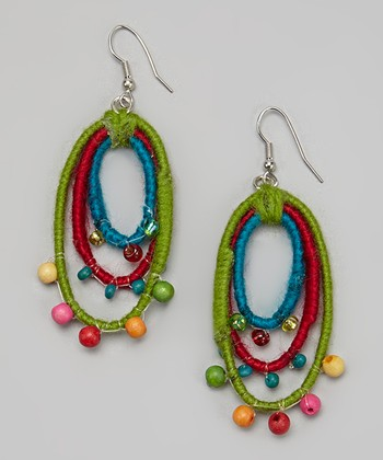 Green & Red Bead Loop Earrings