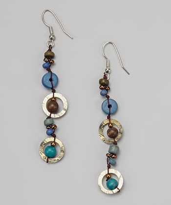 Silver & Blue Bead Drop Earrings