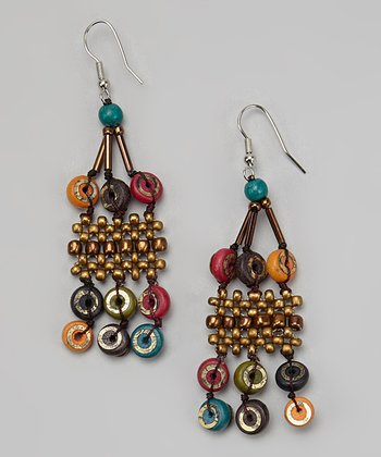 Bronze & Red Bead Chandelier Earrings