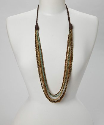 Gold & Green Chain Necklace