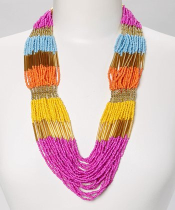 Pink & Yellow Beaded Necklace