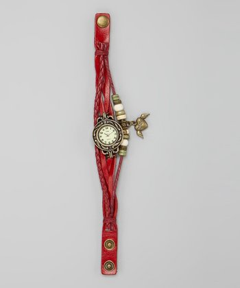 Burgundy Winged Heart 'Love' Charm Watch