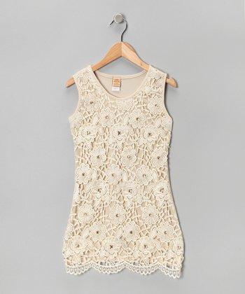 Mia Belle Baby Cream Lace Scallop-Hem Dress - Girls