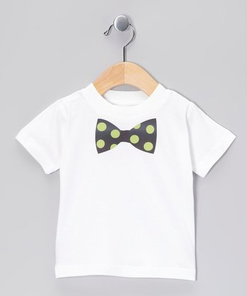 White & Dark Green Polka Dot Bow Tie Tee - Infant, Toddler & Boys