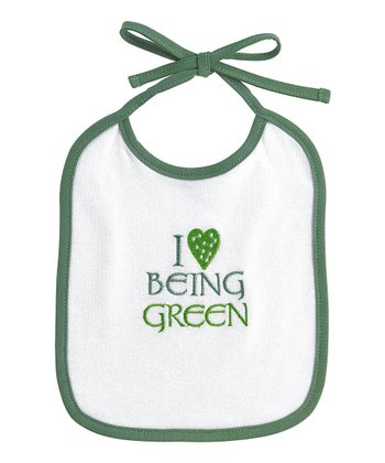 White 'I Love Being Green' Bib