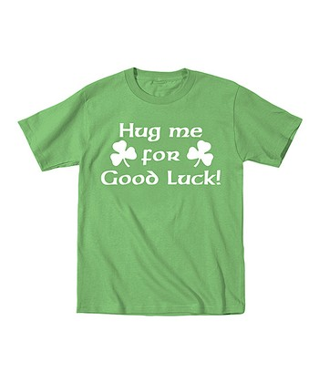 Green 'Hug Me for Good Luck' Tee - Toddler & Kids