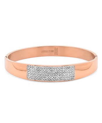 Simulated Diamond & Rose Gold Bangle