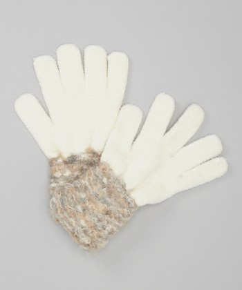 Ivory Fuzzy Cuff Space Dyed Gloves