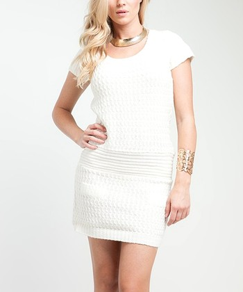 White Cap-Sleeve Sweater Dress - Women