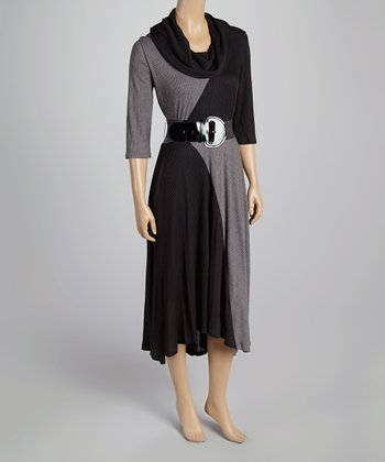 Black & Gray Belted Color Block Cowl Neck Dress