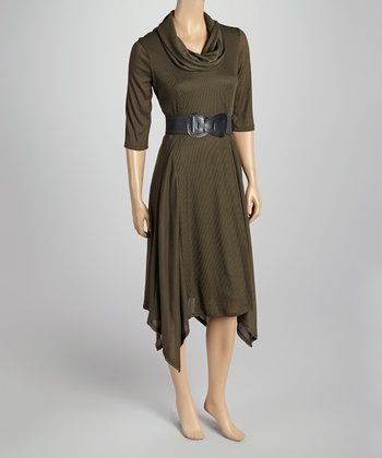 Olive Belted Cowl Neck Three-Quarter Dress