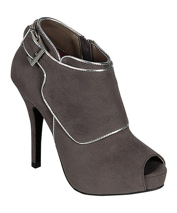 Gray & Silver Trim Buckle Bootie