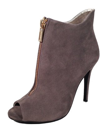 Gray & Gold Zipper Peep Toe Bootie