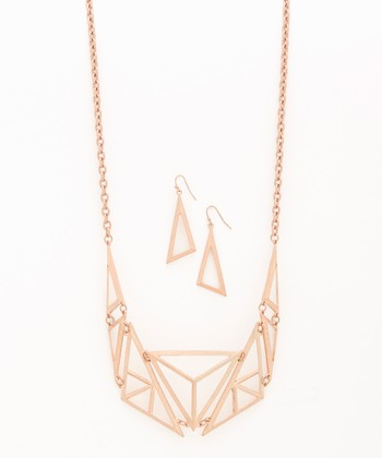 Rose Gold Geometric Cutout Bib Necklace & Drop Earrings