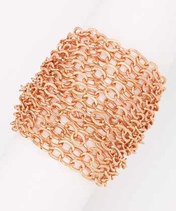 Rose Gold Textured Multi-Strand Chain Bracelet