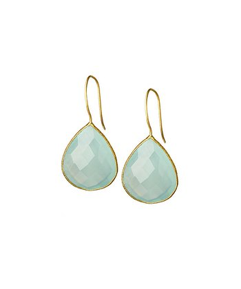 Aqua Chalcedony & Gold Faceted Drop Earrings