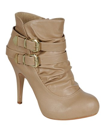 Nude Ruched Buckle Bootie