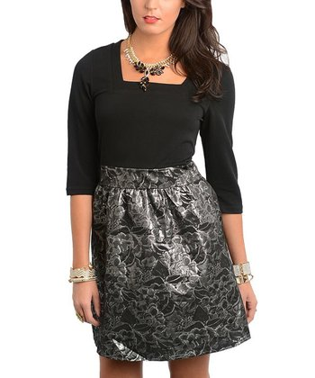 Black & Silver Luster Empire-Waist Dress