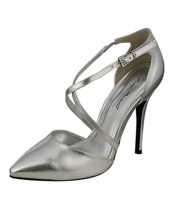 Silver Mother-of-Pearl Ankle-Strap Pump
