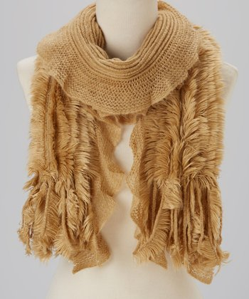 Beige Pleated Faux Fur Panel Scarf