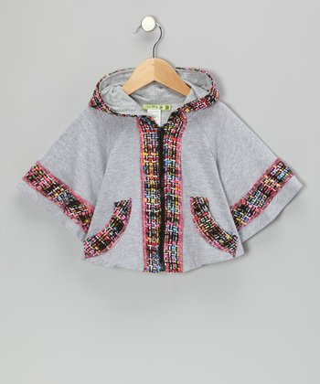 Gray Midnight In Paris Zip-Up Poncho - Toddler & Girls
