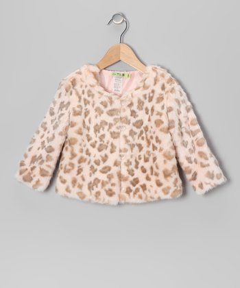 Ivory & Mocha Leopard Faux Fur Coat - Girls & Toddler