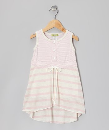 Pink Stripe Aqua Peche Hi-Low Dress - Toddler & Girls