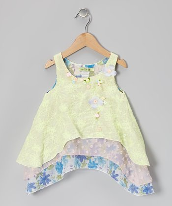 Yellow & Blue Lemonade Layered Tunic - Toddler & Girls