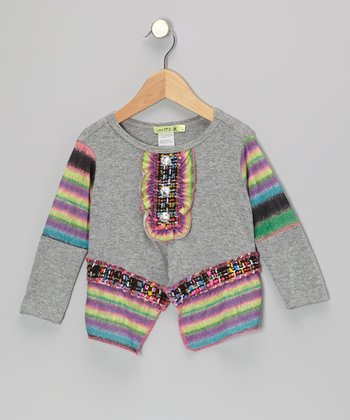 Gray Midnight In Paris Sidetail Tunic - Toddler & Girls