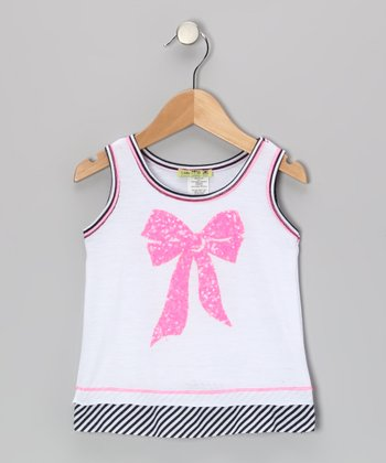 White Nautical Preppy Bow Tank - Toddler & Girls