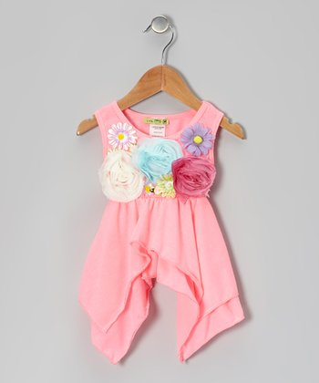 Neon Pink Okey Dokey Sidetail Top - Toddler & Girls