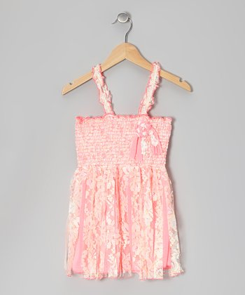 Neon Pink Fanta Lace Fringe Shirred Tunic - Toddler & Girls