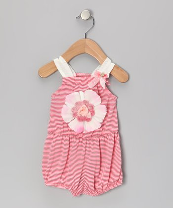 Coral & White Stripe Dolce Romper - Infant & Toddler