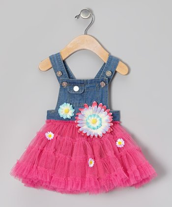 Fuchsia & Denim Overalls Tutu Dress - Infant & Toddler
