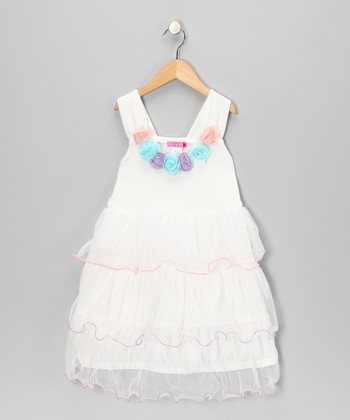 White Bell Ruffle Dress - Girls