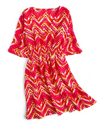 Red & Fuchsia Smocked Zigzag Dress