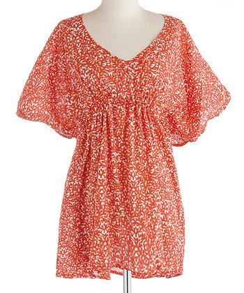 Coral Smocked Cape-Sleeve Dress