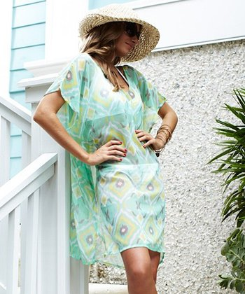 Seafoam & Lime Chiffon V-Neck Dress