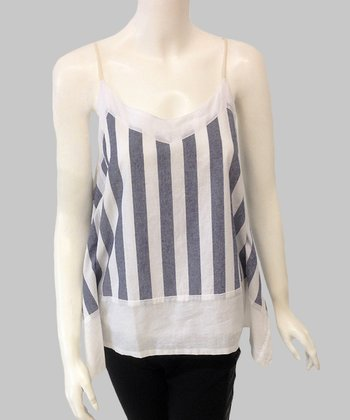 White Stripe Silk-Blend Tank