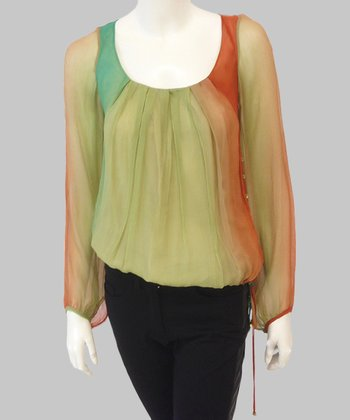 Olive & Rust Ombré Silk Top