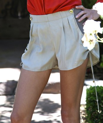 Bone Ruched Silk Shorts