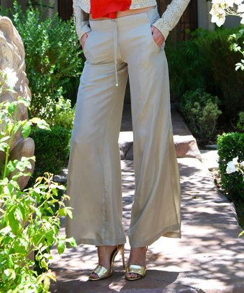 Bone Silk Wide-Leg Pants