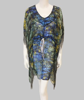 Blue & Moss Green Fringe Silk Dress